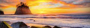 The sun sets on a Washington State beach near La Push.