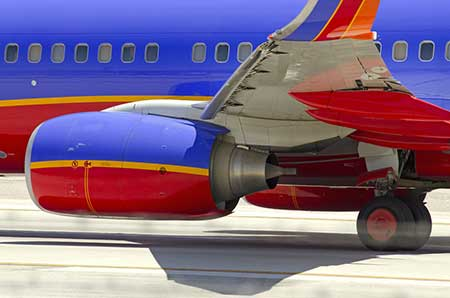 A Southwest 737 taxis on the runway.