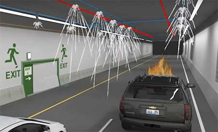 An artist's rendering of the new Waterfront Tunnel showing fire suppression capabilities.