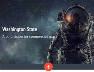 "Opening screen of video showing astronaut and the title, ""Washington State: A Bold Vision for Commercial Space"