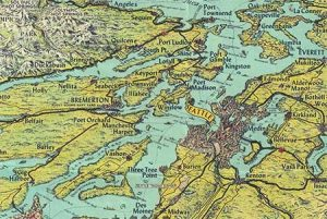 A map of the Puget Sound created by the Kroll Map Mapping company of Seattle.