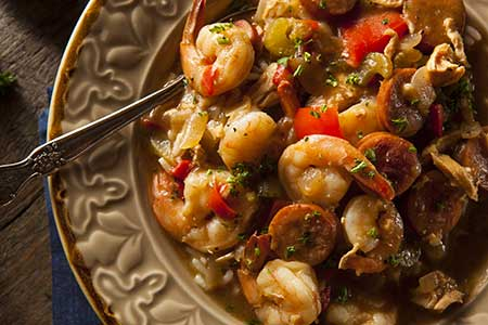 A bowl of shrimp gumbo, an ode to Seattle's James Beard award-winner, JuneBaby.