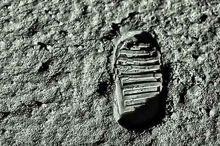 Buzz Aldrin's footprint on the moon.