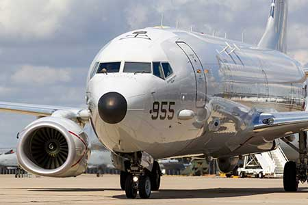 A Boeing Poseidon surveillance aircraft readies for takeoff.