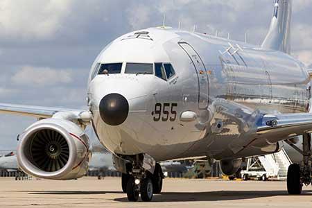 A Boeing Poseidon surveillance aircraft readies for takeoff.