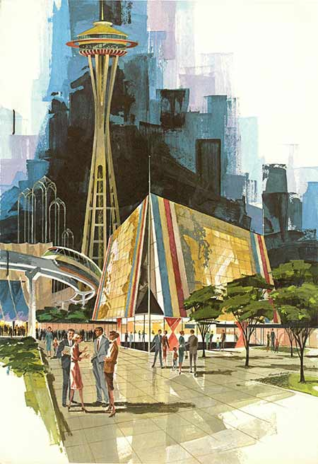 An artist's rendition of the Century 21 Exposition in Seattle with the Space Needle in the background