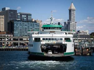 A Washington State ferry prepares to dock in downtown Seattle.