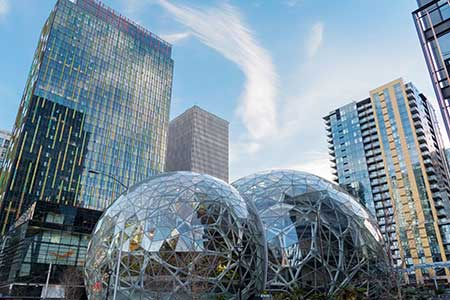 Amazon's Spheres, outside of Amazon's Seattle headquarters.