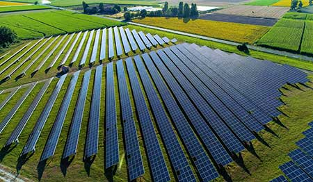 A solar farm captures renewable energy from the sun.