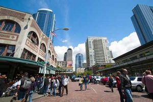 Downtown Seattle as seen from the Pike Place Market.