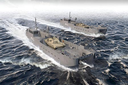 An artist's rendition of the Army's new landing craft being built by Vigor shipyards in Washington State.