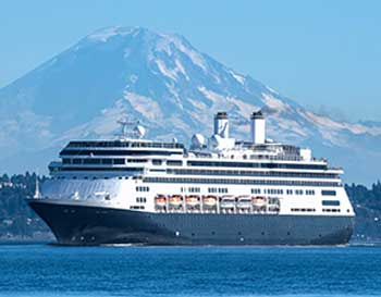 A Holland America cruise ship leaves Seattle for another cruise to Alaska.