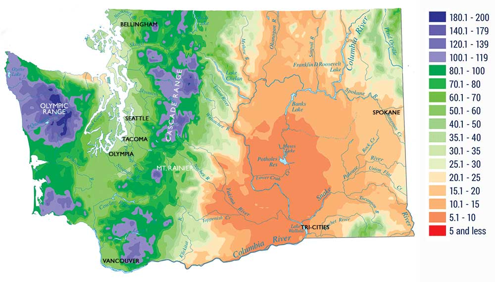 The Amazingly Diverse Climate And Geography Of Washington State - Rainfall-map-us
