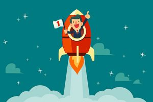 A businessman in a rocket shows he's #1.