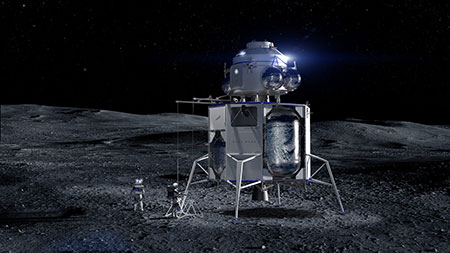 An artist's rendition of Blue Origin's Blue Moon lander on the moon.