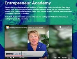 A screen capture of the Entrepreneur Academy home page.