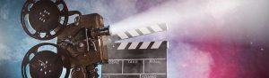 A movie project and a scene slate to designate the site's media center.