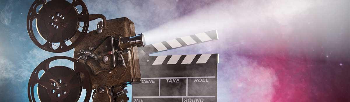 Een filmproject en een scène-lei om het mediacentrum van de site aan te duiden.