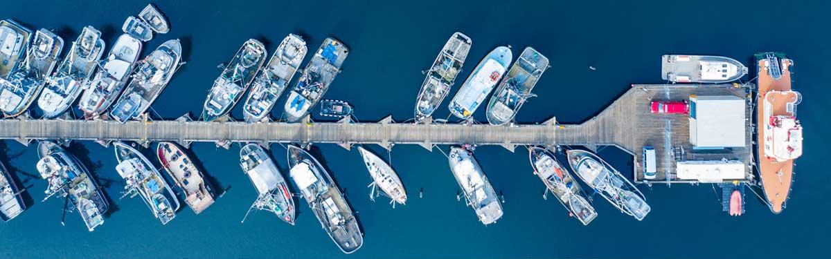 一排漁船綁在漁民碼頭