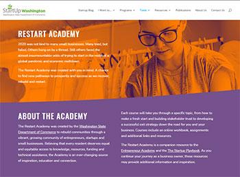 Screen capture of the new Restart Academy website