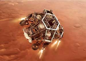 The Perseverance Lander heads to the surface of Mars.